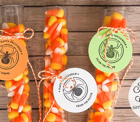 Candy Corn Halloween Treat Idea with Customized Tags