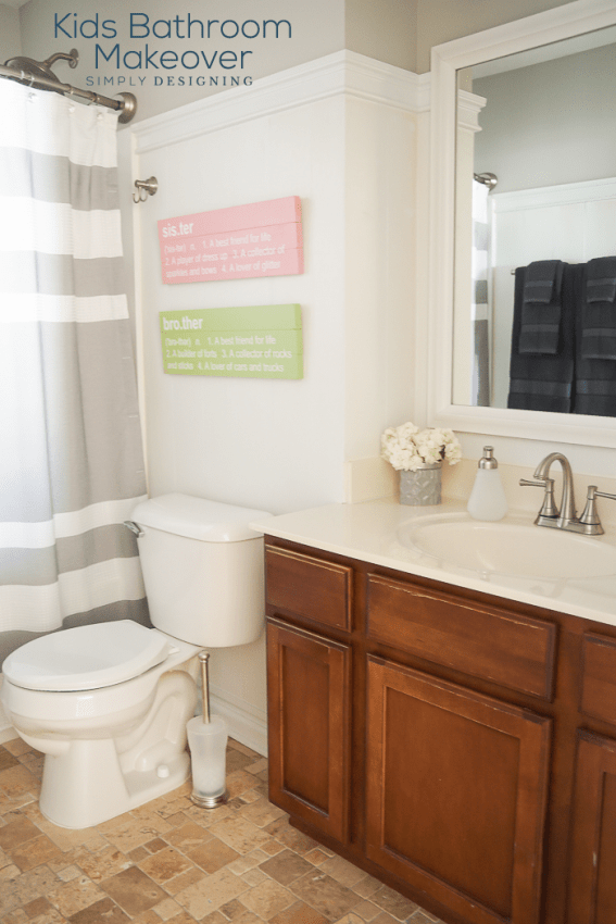 Sharing this beautiful and easy Kids Bathroom Makeover