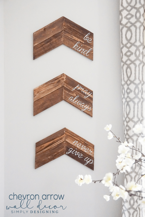 Customizable Chevron Arrow Wall Decor - this is a really simple home project and a great way to add a custom sign to your home