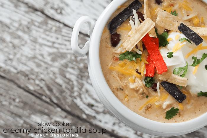 Easy Slow Cooker Creamy Chicken Tortilla Soup Recipe