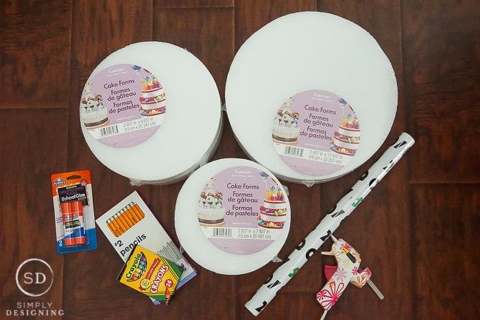 School Supply Cake - supplies