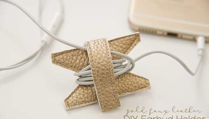 Gold Faux Leather DIY Earbud Holder