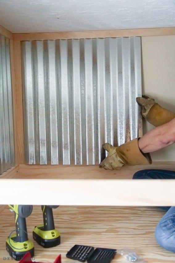 corrugated sheet metal on wall