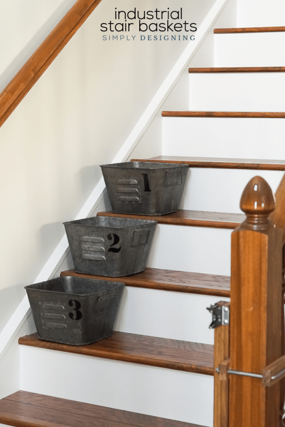Industrial Stair Baskets with vinyl numbers