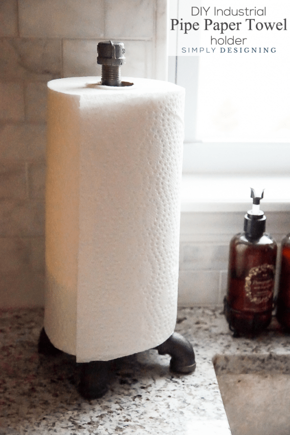 DIY Industrial Pipe Paper Towel Holder - so easy to make