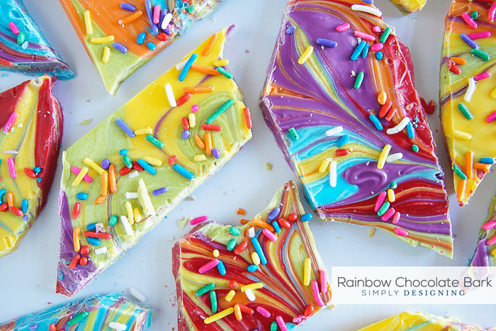 Rainbow Chocolate Bark - a delicious and beautiful chocolate treat