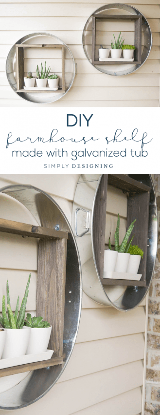 DIY Farmhouse Shelf - this farmhouse shelf is made out of a galvanized tub is so fun - industrial shelf - farmhouse - vertical planter - hanging planter - outdoor living