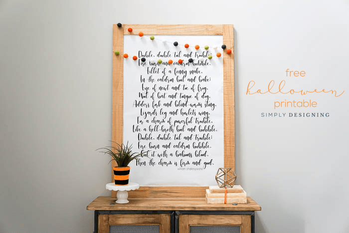 Double Double Toil and Trouble FREE Halloween Printable