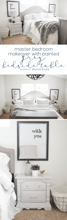 Painted Grey Bedside Table for the Master Bedroom - this bedroom transformation is so beautiful and cozy