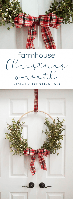 Farmhouse Christmas Wreath - Christmas Hoop Wreath - Holiday Wreath Made with Wood Hoop - DIY Christmas Wreath