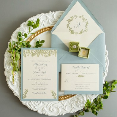 Greenery Custom Designed Wedding Invitations