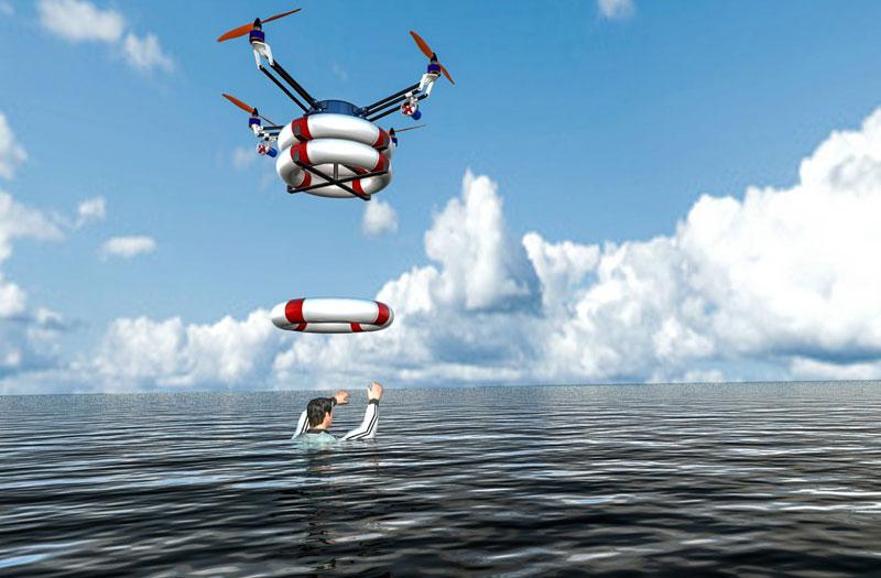 Drone rescue sea