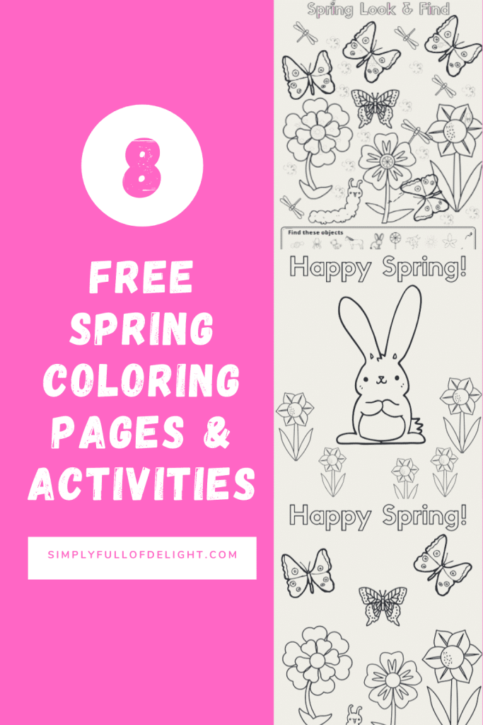 8 FREE Spring Coloring Pages and Activities - Free Printable coloring pages and activity sheets for kids, teachers, parents, and Sunday School  #spring #coloringpages #easter