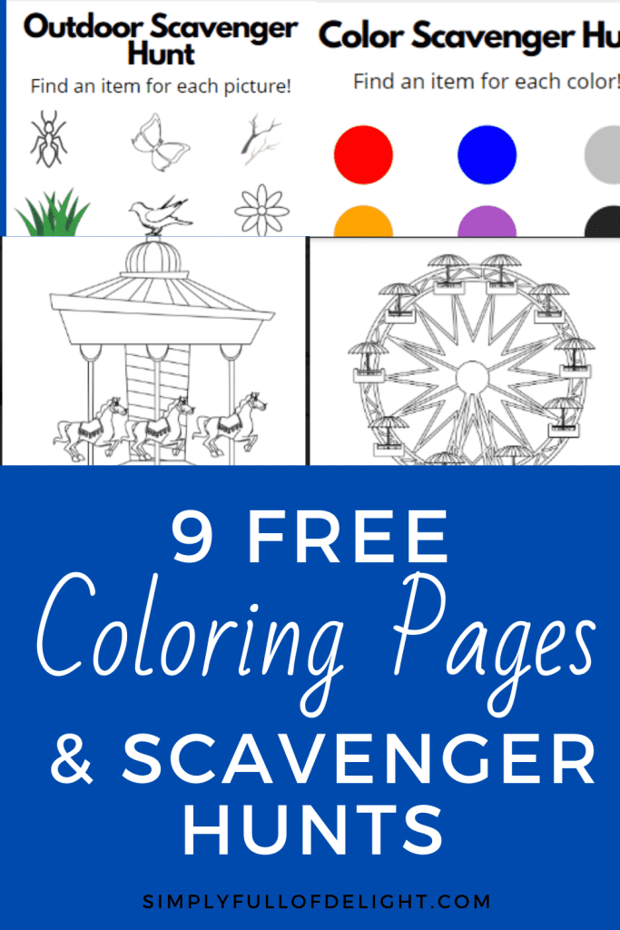 9 Free Coloring Pages and Scavenger Hunts