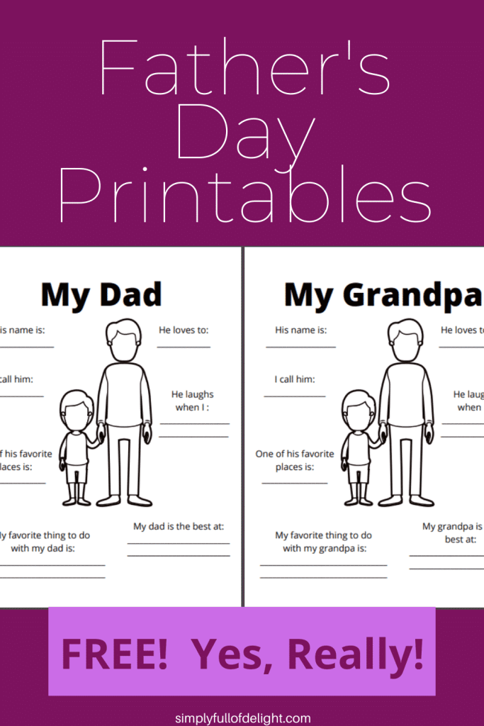 Father's Day Printables (FREE!  Yes, Really!)
