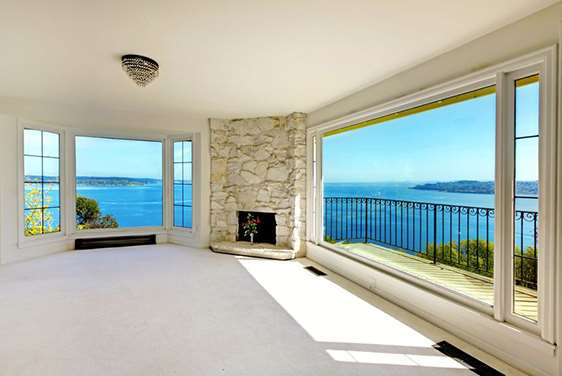 A Fire place with a Sight