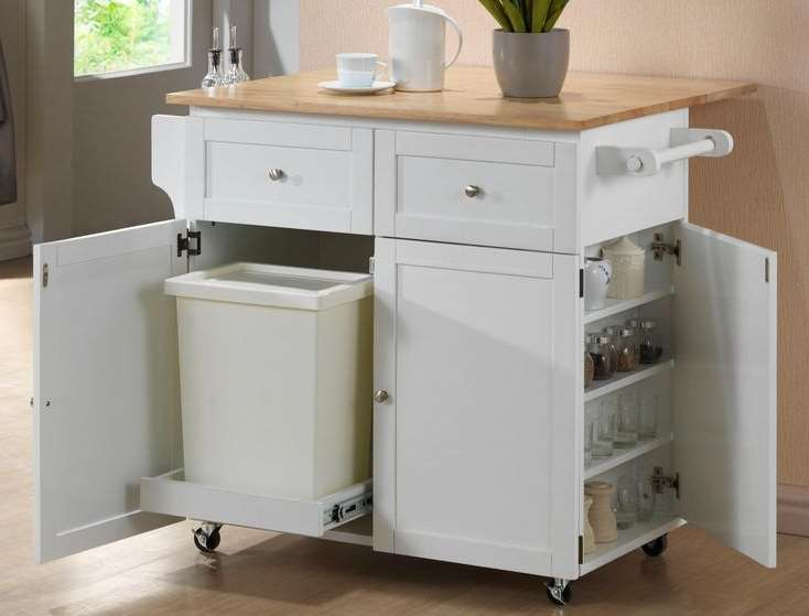 kitchen trash can pull out rustic wood island diy in a cabinet amazing idea