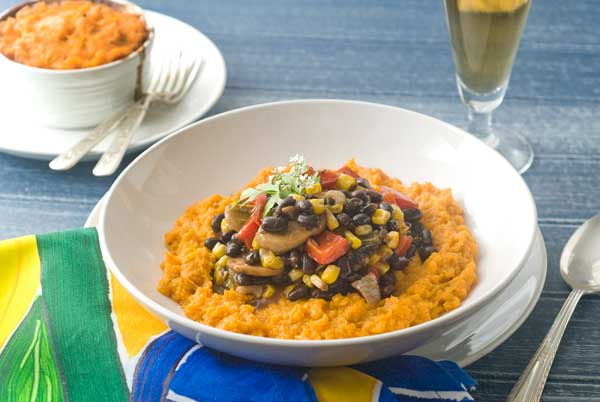 Post image for Gluten Free Southwestern Black Bean Stew with Sweet Potato Mash Recipe
