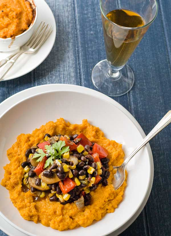 Gluten Free Black Bean Stew with Sweet Potato Mash