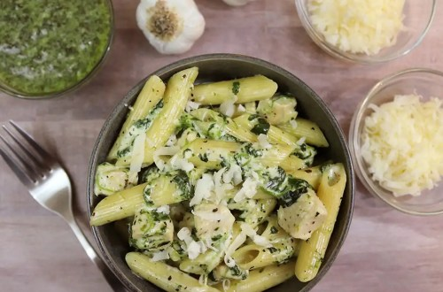 Creamy Three-Cheese Chicken & Spinach Pasta