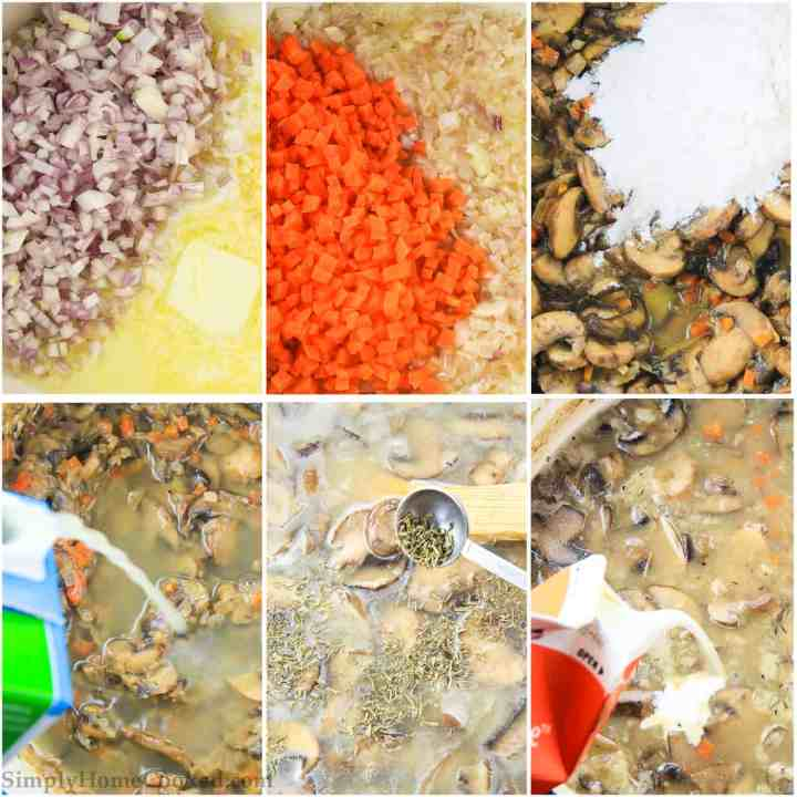 an overhead image collage of steps on hoe to make the best homemade mushroom soup ever