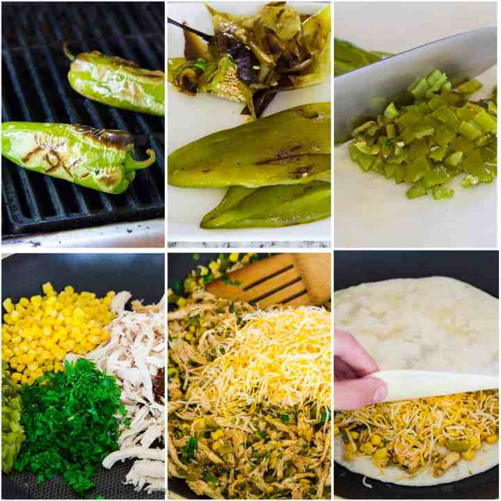a step by step photo collage of how to make chicken quesadillas