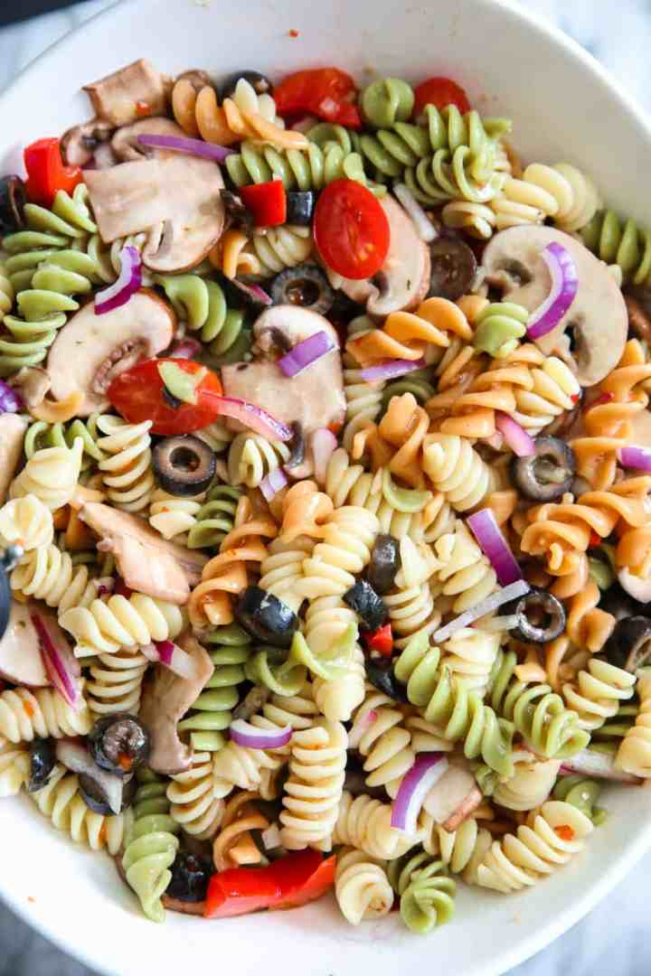 Tri Color Pasta Salad is a favorite option for easy sides or meals during the hot summer months. Whip up this recipe with your favorite vegetables for a delicious meal.