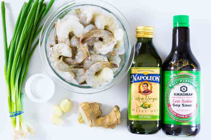 ingredients for garlic ginger shrimp