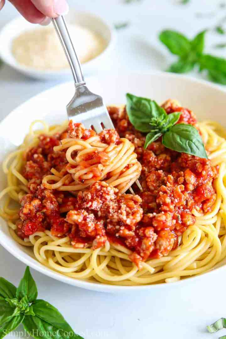 close up image of spaghetti and meat sauce in a white plate with a fork swirled into the pasta