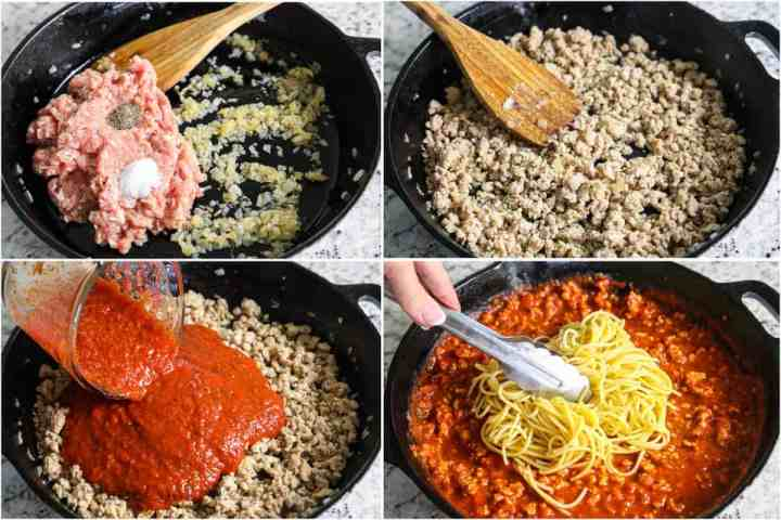 step by step photo collage of how to make spaghetti and meat sauce