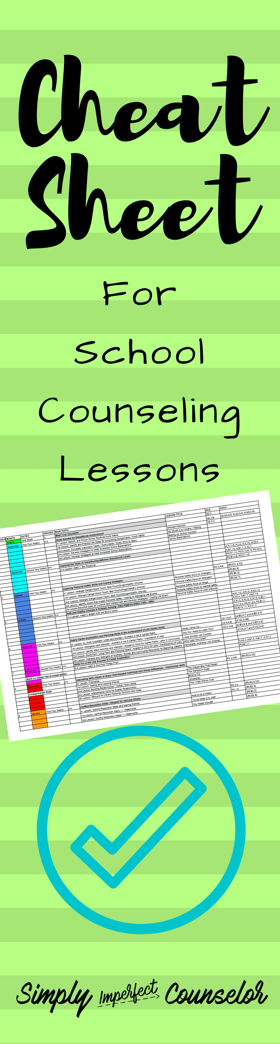 Cheat Sheet for School Counseling Lessons - Entire Elementary Planning [ 3642 x 976 Pixel ]