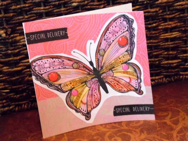 Turning adult coloring pages into handmade greeting cards simply butterfly handmade card m4hsunfo