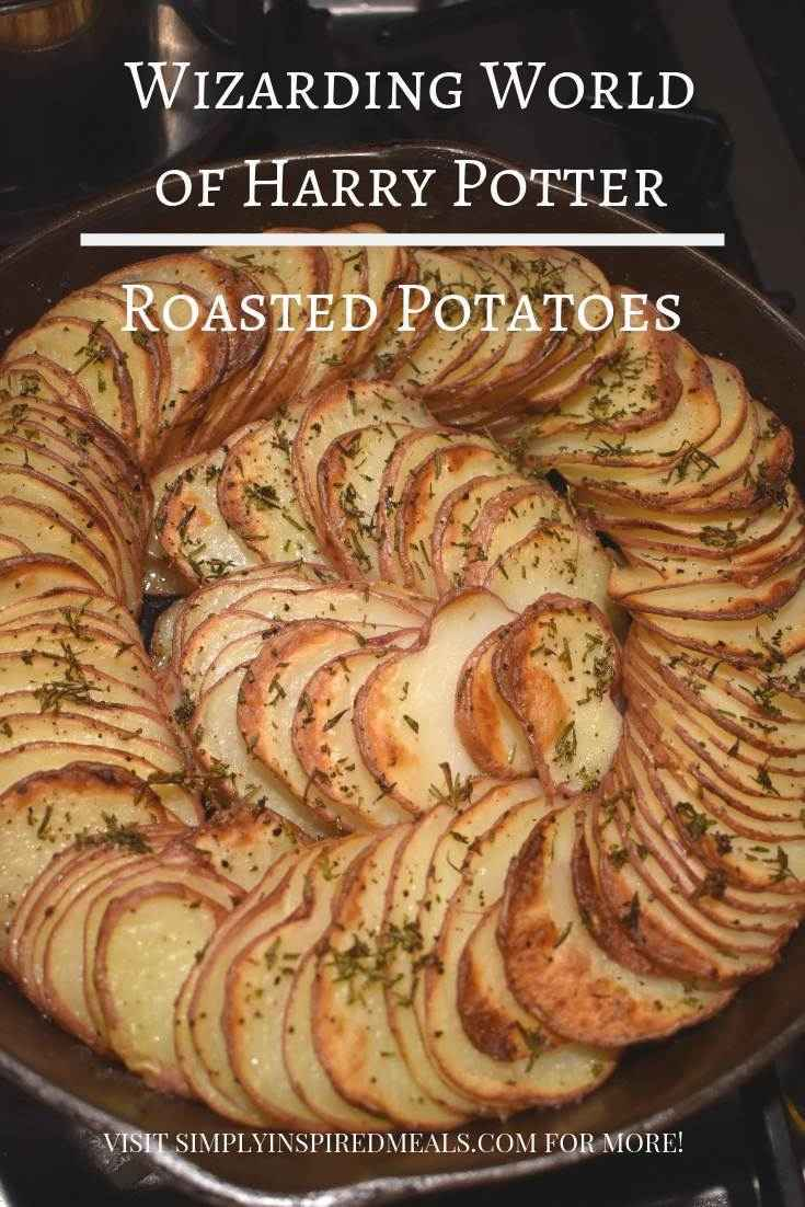 Wizarding World Roasted Potatoes inspired by Universal Studios Hollywood Three Broomsticks menu. These are super tasty potatoes that are easy to make and look beautiful on the table.  #bakingbloggers #harrypotterfandom #harrypotter #hogsmeade #wizardingworld #wizardingworldofharrypotter #universalstudios #threebroomsticks