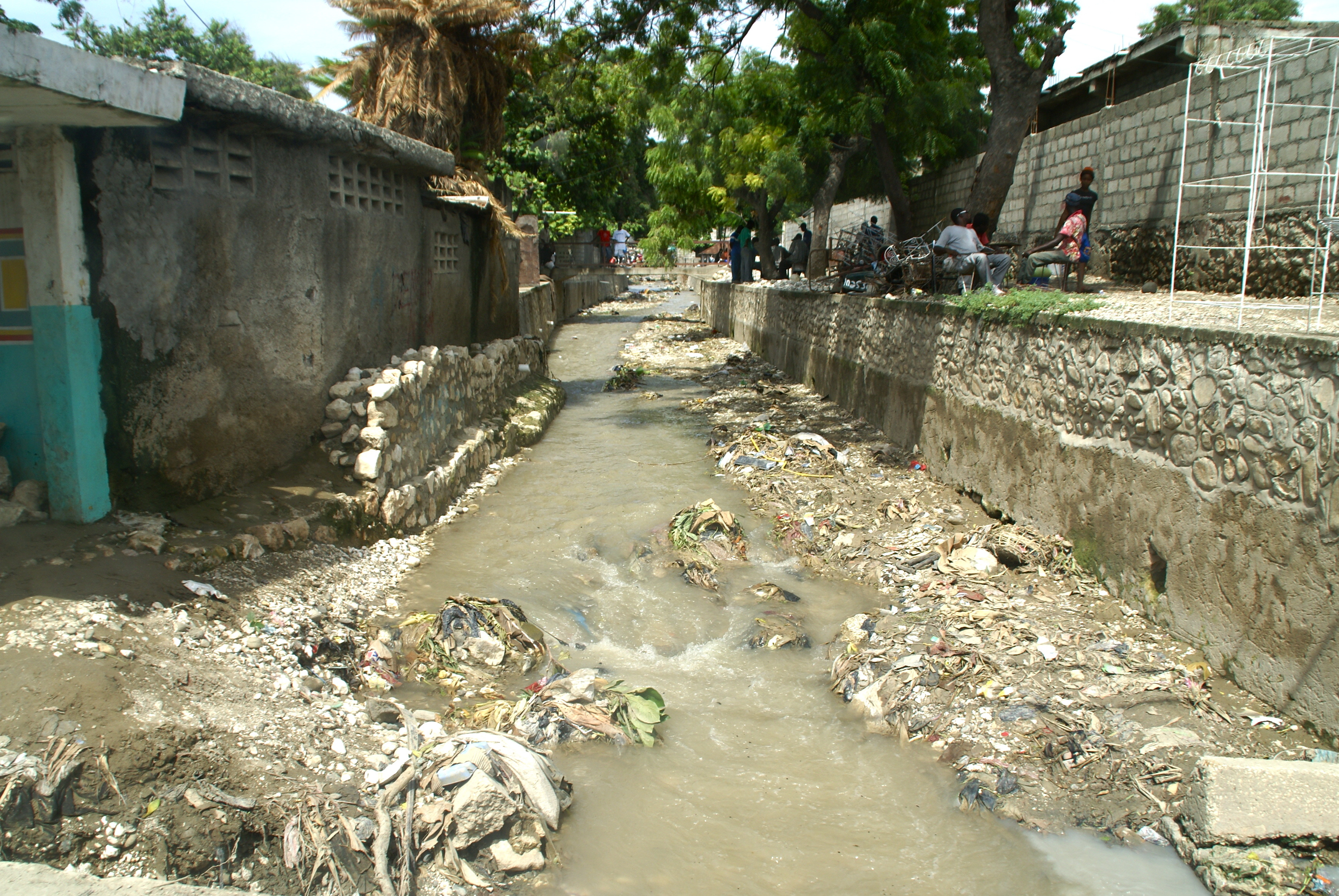 Water flows from the mountains but most are polluted from trash