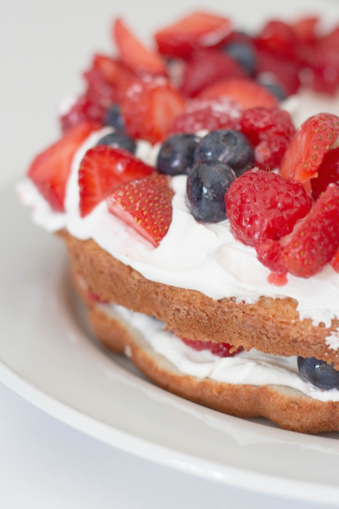 Fourth of July Mixed Berry Angel Food Cake