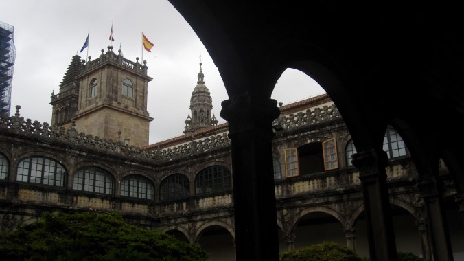 View from the interior court of the university to the different towers of the Cathedral