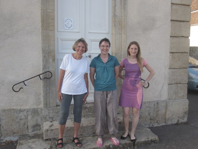 Emely, Emeline and myself in front of the refuge located in the town hall