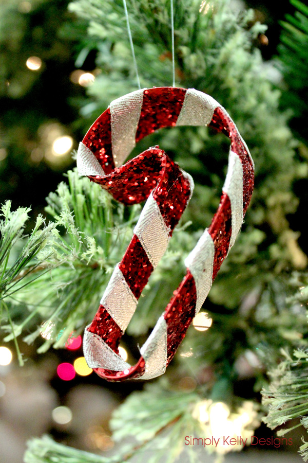 Glitter Candy Cane Christmas Ornament by Simply Kelly Designs #christmas #ornament #glitter #candycane