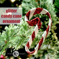 Glitter Candy Cane Christmas Ornament