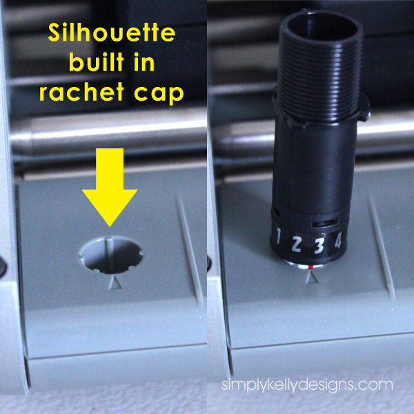 Silhouette built in rachet cap to change the blade depth