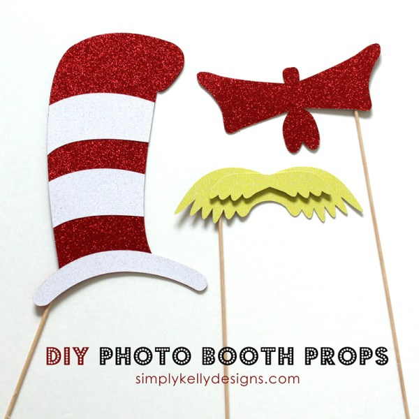 DIY Dr. Seuss Photo Booth Props by Simply Kelly Designs #DrSeuss #photoboothprops #phtoobooth #Silhouette #CatInTheHat #TheLorax