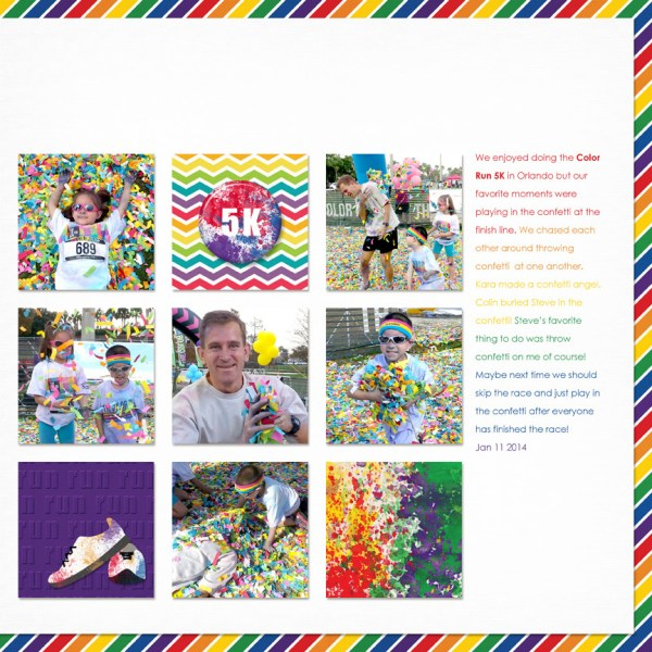 Color Run Layout using Run In Color Kit and InstaDouble template by Simply Kelly Designs