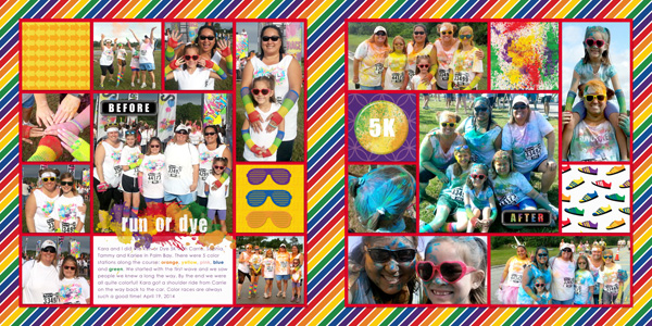 Run or Dye 5K Scrapbook Layout by Simply Kelly Designs #digiscrap #RunOrDye