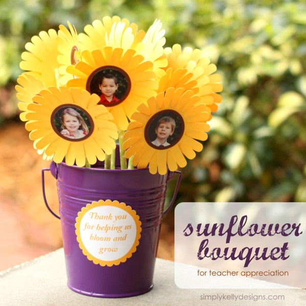 Bloom and Grow Sunflower Bouquet for Teacher Appreciation by Simply Kelly Designs #teacherappreciation #sunflowers #paperflowers #papercrafting #simplykellydesigns