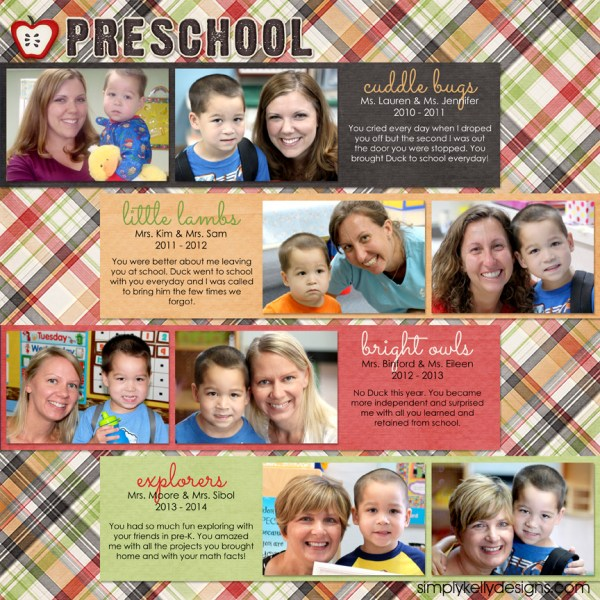 Then and Now Teacher Layout by Simply Kelly Designs #preschool #scrapbooking #graduation