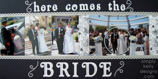 DIY Classic Wedding Scrapbook: Here Comes The Bride by Simply Kelly Designs #wedding #weddingscrapbook #blackandwhite #scrapbooking