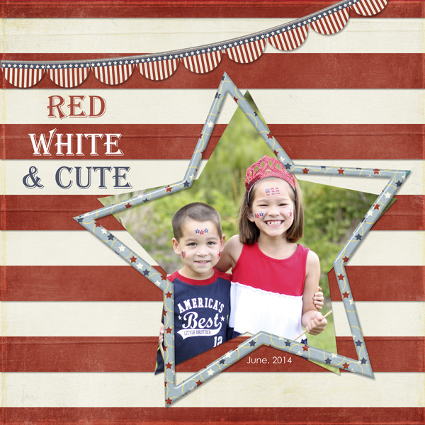 Red, White & Cute layout by Simply Kelly Designs #4thOfJuly #redwhiteandblue #digiscrap
