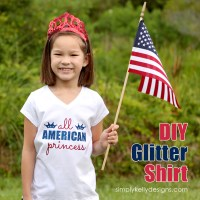 DIY Glittery All American Princess Shirt by Simply Kelly Designs #4thofJuly #Silhouette #redwhiteandblue