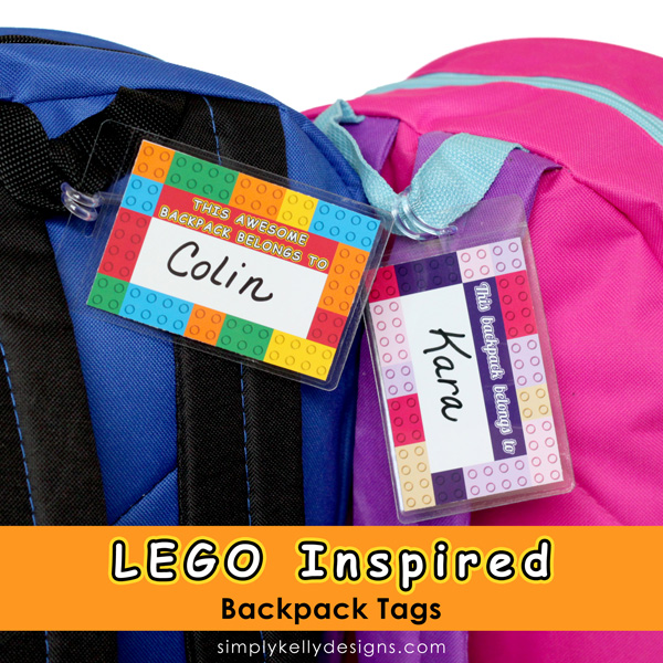 image relating to Printable Backpacks named LEGO Influenced Printable Backpack Tags