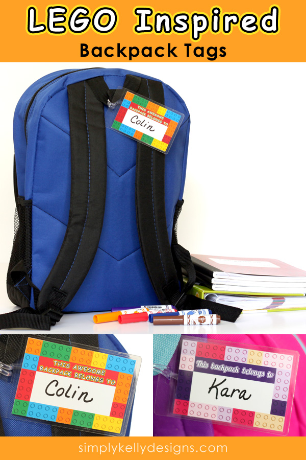 LEGO Inspired Printable Backpack Tags by Simply Kelly Designs #backtoschool #backpacks #LEGOinspired #printable